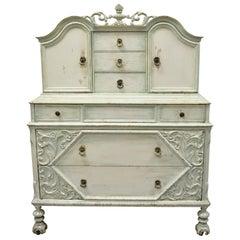 Depression Renaissance Bonnet Top Blue White Distress Painted Dresser Armoire