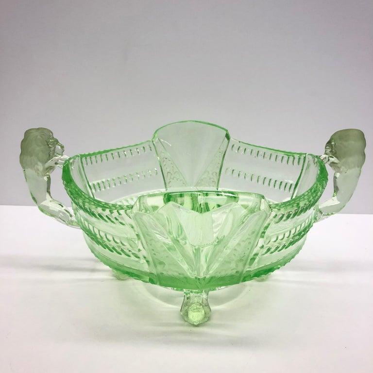 Depression Vaseline Glass Bowl Catchall Antique German, 1910s For Sale 2