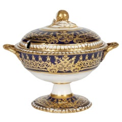 Derby Attributed Hand Painted Twin Handled Lidded Sauce Tureen