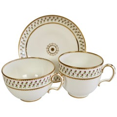 Derby King Street Porcelain Teacup Trio, White with Tiny Roses, 1848-1862