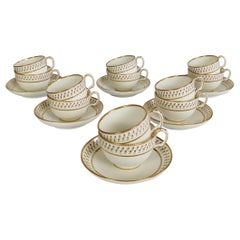 Derby King Street Set of 6 Porcelain Tea Trios, White with Tiny Roses, 1848-1862