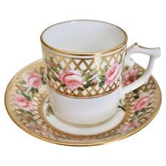 Derby King Street Tiny Porcelain Demitasse Cup, Pink Roses and Gilt, 1862-1935