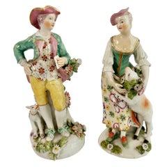 Derby Pair of Porcelain Figures, Garland Shepherds, Georgian, ca 1765