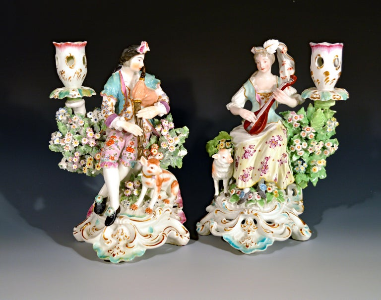 Derby Porcelain Candlesticks with Figures of Musicians, circa 1760-1765 For Sale 5