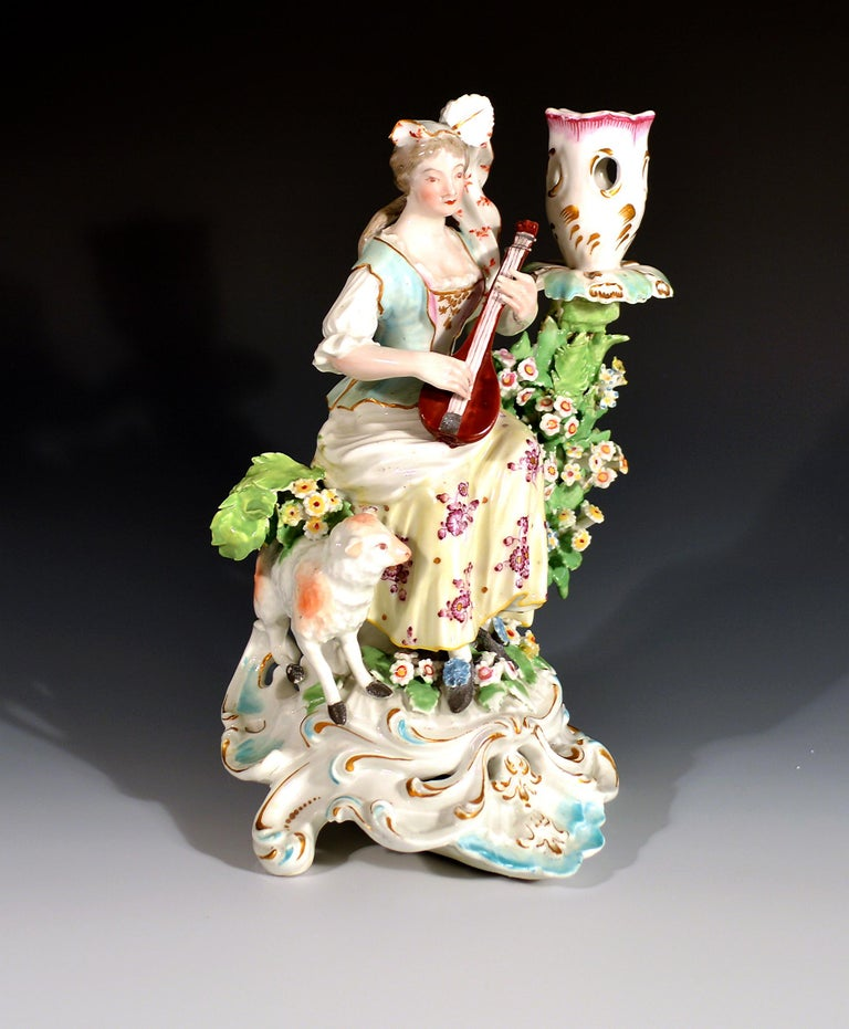 English Derby Porcelain Candlesticks with Figures of Musicians, circa 1760-1765 For Sale