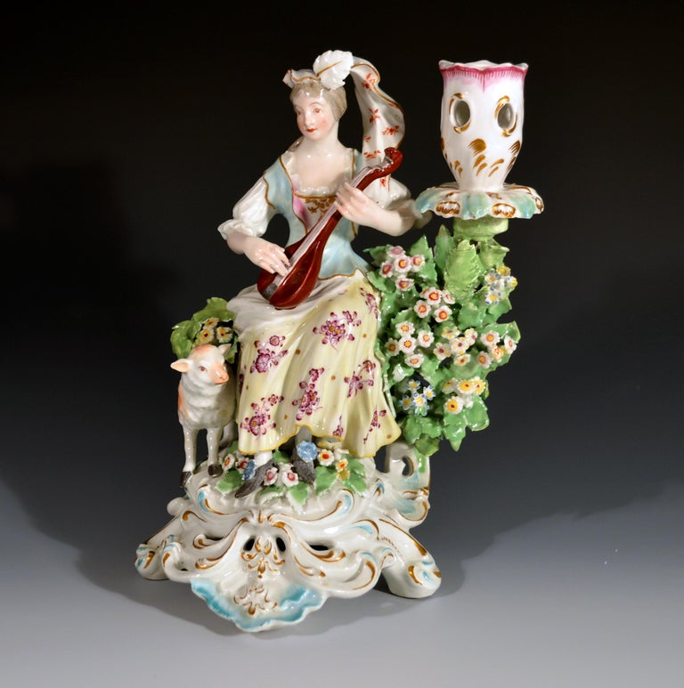 Derby Porcelain Candlesticks with Figures of Musicians, circa 1760-1765 In Good Condition For Sale In Downingtown, PA