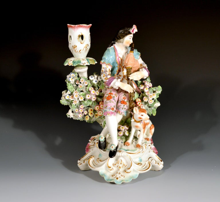 Mid-18th Century Derby Porcelain Candlesticks with Figures of Musicians, circa 1760-1765 For Sale