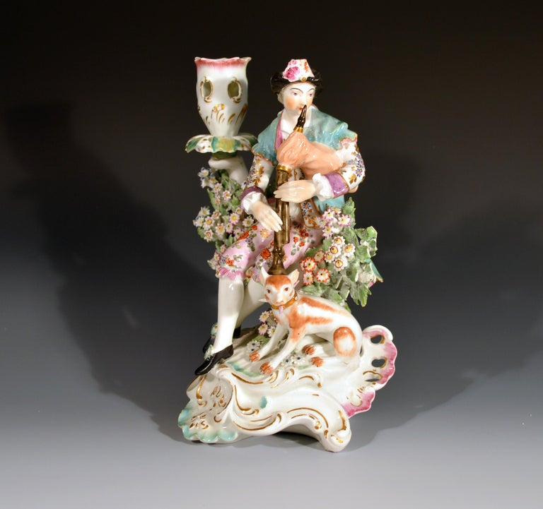 Derby Porcelain Candlesticks with Figures of Musicians, circa 1760-1765 For Sale 1