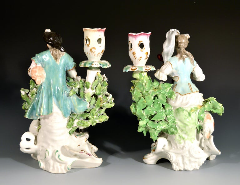 Derby Porcelain Candlesticks with Figures of Musicians, circa 1760-1765 For Sale 2