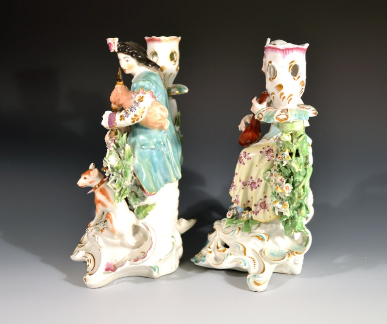 Derby Porcelain Candlesticks with Figures of Musicians, circa 1760-1765 For Sale 3