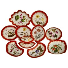 Derby Porcelain Dessert Service Red Botanical Attr. to John Brewer, Regency 1795