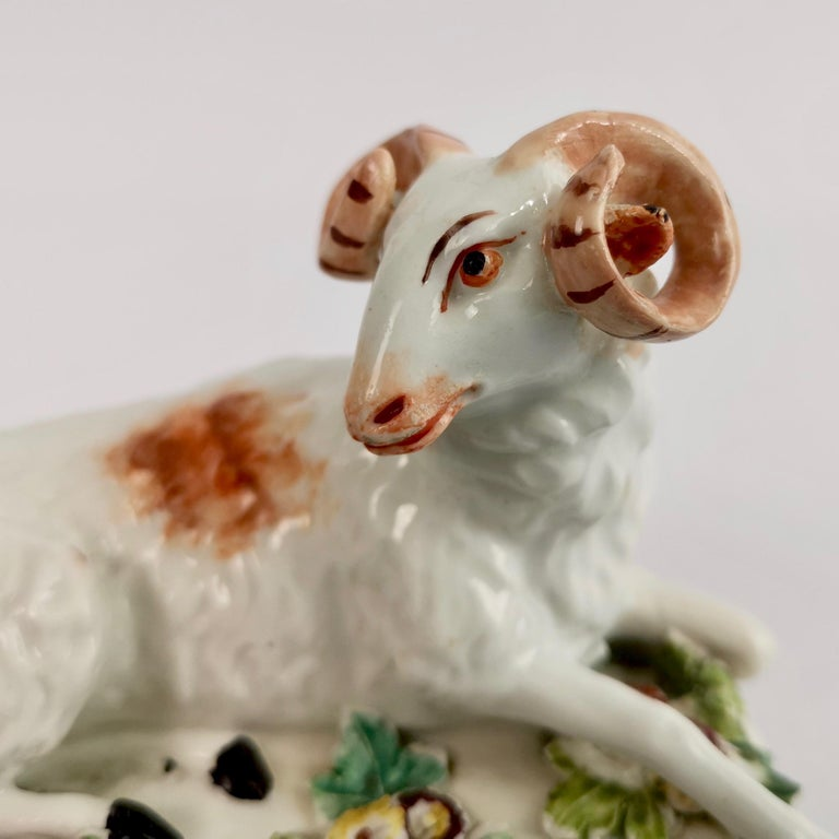 Rococo Derby Porcelain Figure of Recumbent Ram, 1759-1769 For Sale