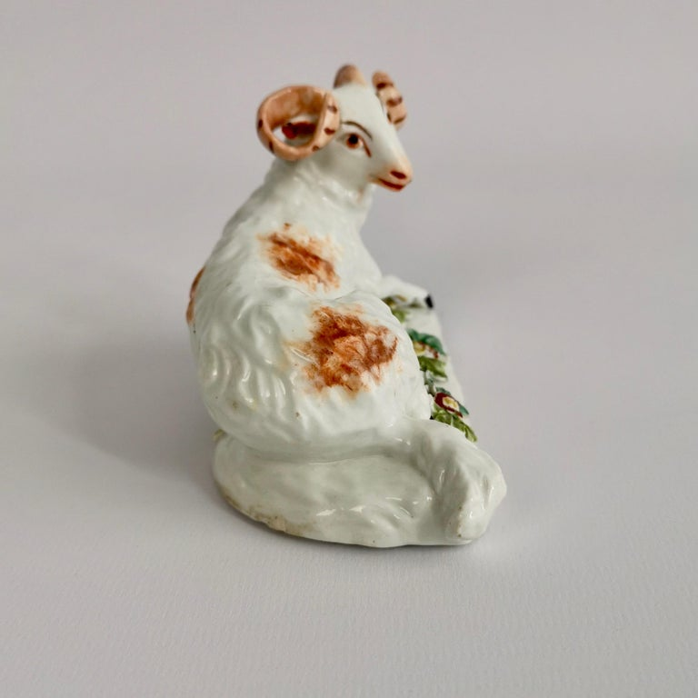 English Derby Porcelain Figure of Recumbent Ram, 1759-1769 For Sale