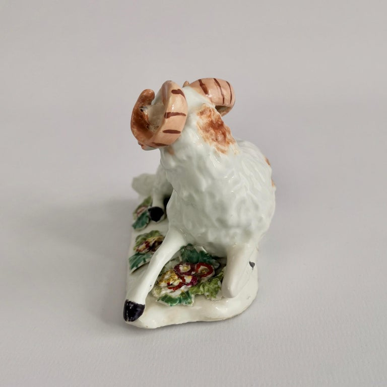 Mid-18th Century Derby Porcelain Figure of Recumbent Ram, 1759-1769 For Sale