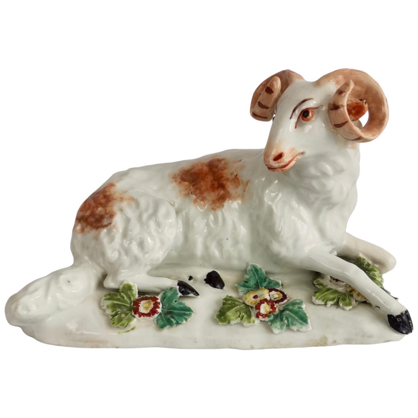 Derby Porcelain Figure of Recumbent Ram, Georgian 1759-1769