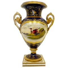 Derby Porcelain Hand-Painted Urn Form Vase