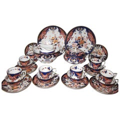 Derby Porcelain King's Pattern Tea Service with Coffee Cans