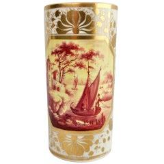 Derby Porcelain Spill Vase, Sepia Boat Landscape, Regency ca 1810