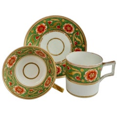 Derby Porcelain Teacup Trio, Green with Red Flowers, 1800-1810