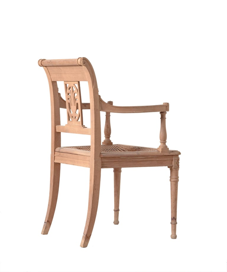 Directoire style open armchair hand-carved Italian beechwood cane seating