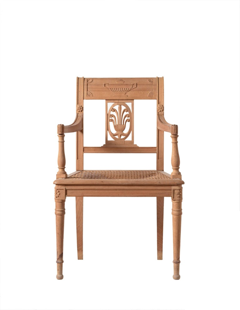 Chippendale Directoire Style Open Armchair Hand-Carved For Sale