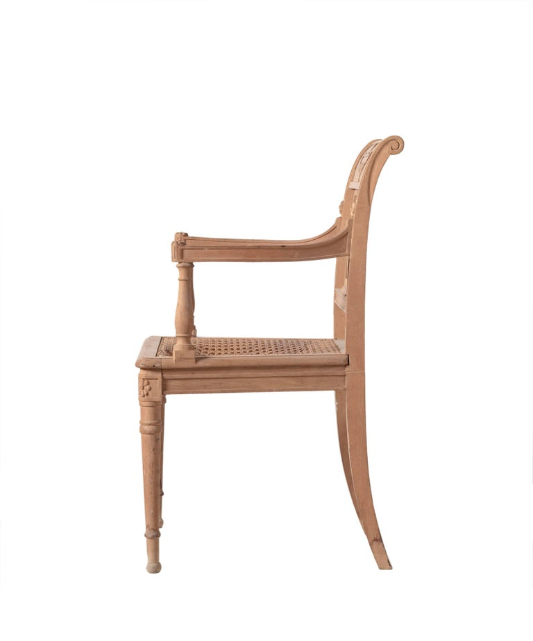 Italian Directoire Style Open Armchair Hand-Carved For Sale