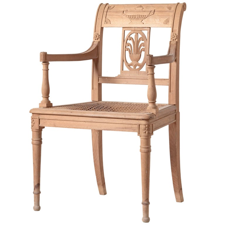 Directoire Style Open Armchair Hand-Carved