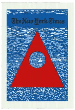 New York Times Leisure Section - print linocut contemporary art waterscape