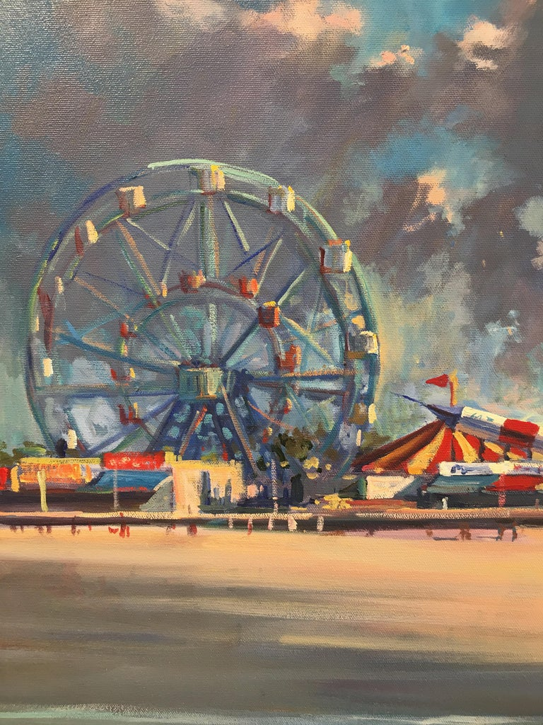 'Coney Island' 2008 by Derek Buckner. Oil on canvas, 28 x 40 in. / Frame: 33.5 x 45.5 in. This painting depicts the iconic Coney Island in NYC in the artist's contemporary, realistic style. Viewed from the beach looking onto the amusement park, AKA
