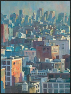 """Manhattan Rooftops #7"" Framed Original Oil Painting on Canvas by Derek Buckner"