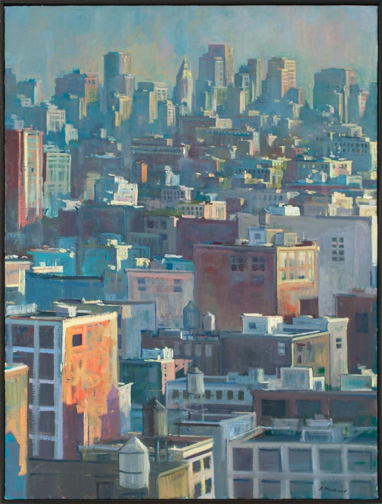 """""""Manhattan Rooftops #7,"""" an original oil on canvas by Derek Buckner, is a piece for the true collector.Buckner is known for his landscape paintings, most notably works depicting the contemporary American landscape. His unique style blends a raw use"""