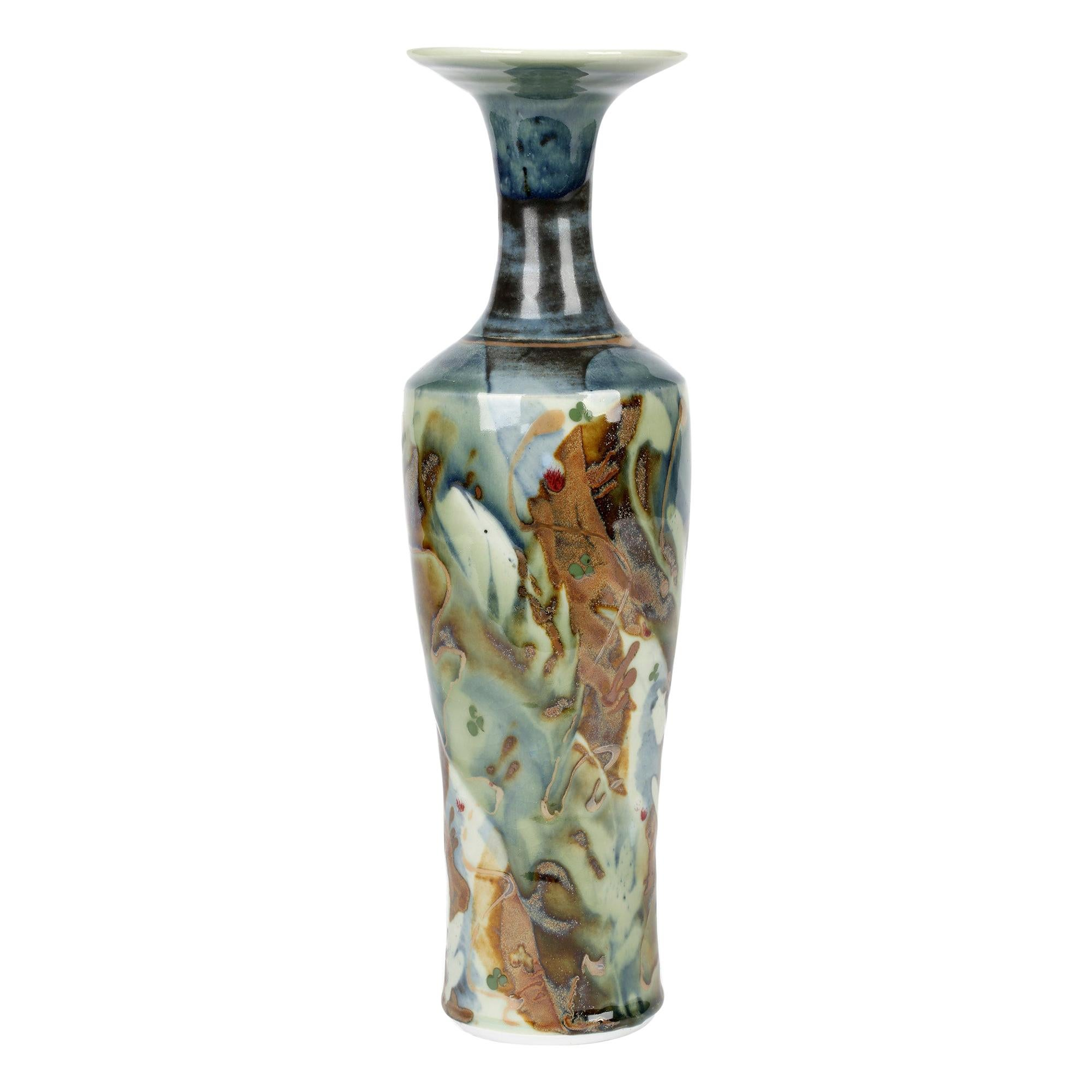Derek Clarkson Attributed Large Abstract Glazed Porcelain Studio Pottery Vase