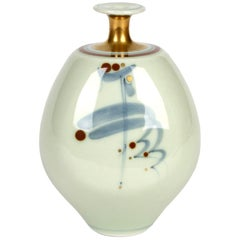 Derek Clarkson Brush Decorated Porcelain Celadon Glazed Studio Vase