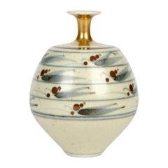 Derek Clarkson Brush Decorated Porcelain Studio Pottery Vase