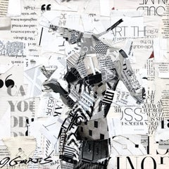 """""""Art Theory #4"""" Black and white collage of woman holding a glass"""
