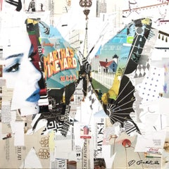 """""""Island Flyer"""" collage of a butterfly and woman in white and pastel colors"""