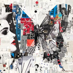 """""""Not Waiting in the Wings"""" collage of a butterfly in black, white, red, blue"""