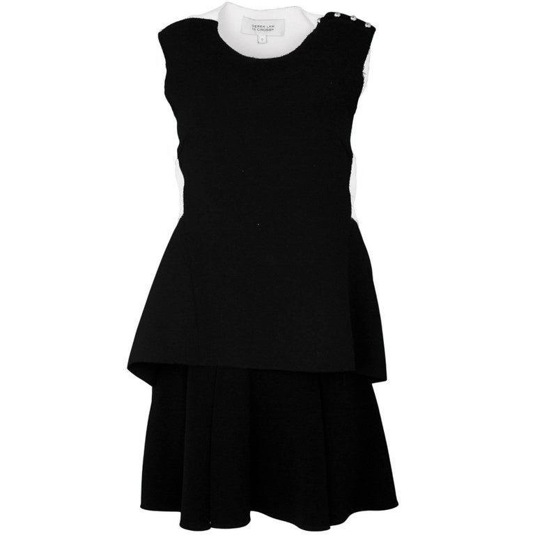 Derek Lam 10 Crosby Black White Peplum Dress Sz 0 For