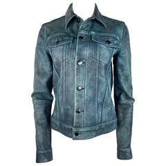 Derek Lam 10 Crosby Blue Leather Jacket, Size 4