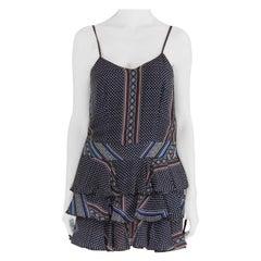 Derek Lam 10 Crosby Blue Printed Silk Tiered Dress and Blouse Set M