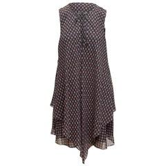 Derek Lam 10 Crosby Navy & Multicolor Silk Sleeveless Dress