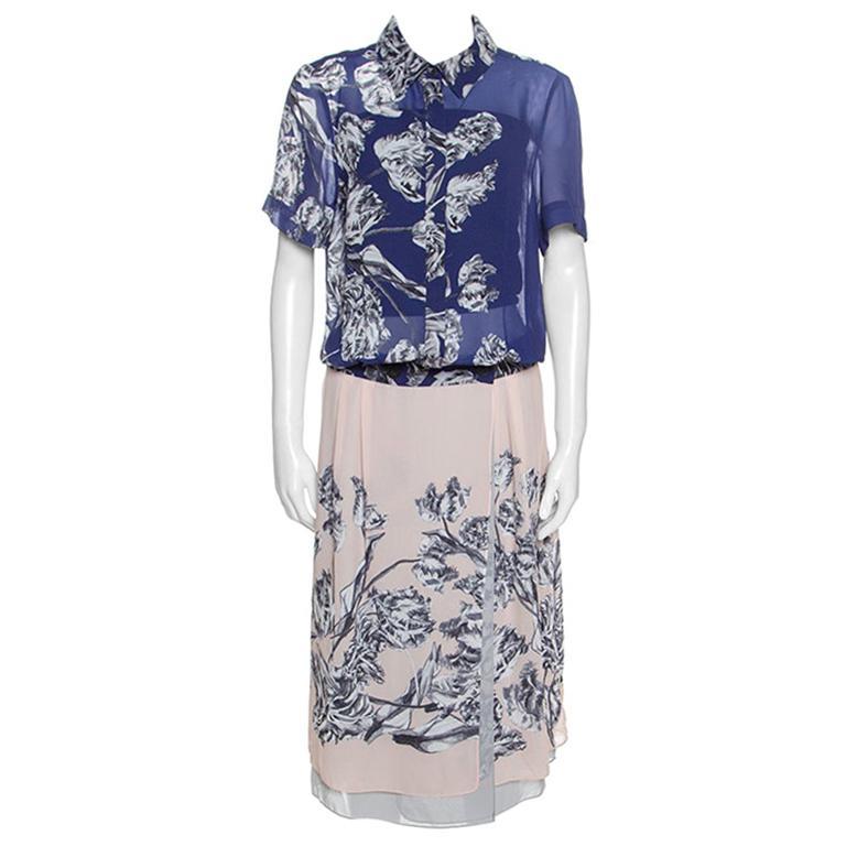 Derek Lam Bicolor Floral Print Crepe Shirt Dress L