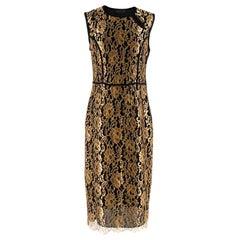 Derek Lam Black & Gold Lace Sheath Dress M