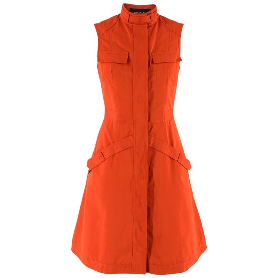 Derek Lam Brick Orange Sleeveless Utility Dress Size US 2