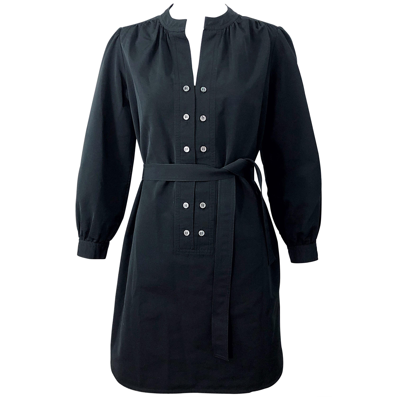 Derek Lam Early 2000s Size 6 / 8 Black Silk Rayon Belted Shirt Dress