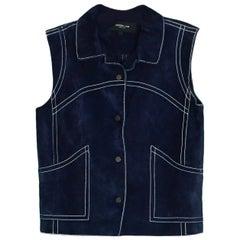 Derek Lam Navy Suede Vest w/ Contrast Stitching  sz 6