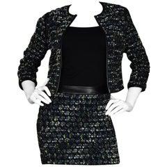Derek Lam Navy Tweed Herringbone Jacket/Skirt Set Sz 2