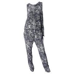 Derek Lam Size 4 / 6 Black and White Silk Wing Back Sleeveless Jumpsuit