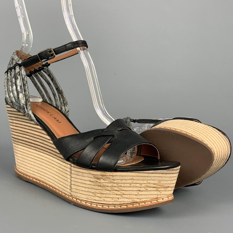Beige DEREK LAM Size 6 Black & Tan Leather Wood Wedge Sandals For Sale