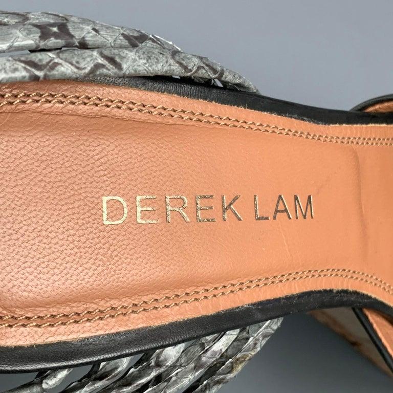 DEREK LAM Size 6 Black & Tan Leather Wood Wedge Sandals For Sale 1